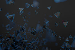 Abstract 3D Rendering of Flying Pyramids. Abstract 3d rendering of chaotic particles. Sci fi pyramids in empty space. Futuristic background Stock Image