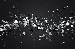 Abstract 3D Rendering of Flying Pyramids Royalty Free Stock Photos