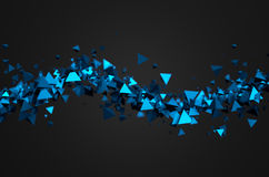 Abstract 3D Rendering of Flying Pyramids. Abstract 3d rendering of chaotic particles. Sci fi pyramids in empty space. Futuristic background Stock Illustration