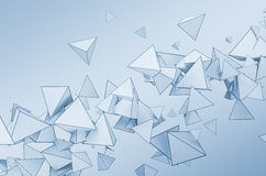 Abstract 3D Rendering of Flying Pyramids. Abstract 3d rendering of chaotic shapes. Flying pyramids in empty space. Futuristic background stock illustration
