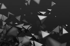 Abstract 3D Rendering of Flying Shapes. Abstract 3d rendering of chaotic shapes. Dark background with pyramids in empty space royalty free illustration