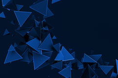 Abstract 3D Rendering of Flying Triangles. Abstract 3d rendering of chaotic triangles. Background with pyramids in empty space Stock Image