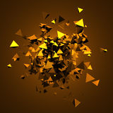 Abstract 3D Rendering of Flying Triangles. Royalty Free Stock Photography