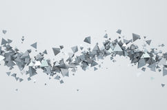 Abstract 3D Rendering of Flying Triangles. Abstract 3d rendering of chaotic triangles. Background with pyramids in empty space Stock Images
