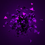 Abstract 3D Rendering of Flying Triangles. Abstract 3d rendering of chaotic triangles. Background with pyramids in empty space Royalty Free Stock Photography
