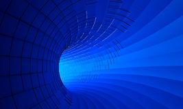 Abstract 3d rendering of futuristic blue tunnel. Background with sci-fi pipe and chaotic metal frame Stock Photography