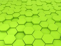 Abstract 3d rendering of futuristic surface. With hexagons. Green sci-fi background Stock Photos