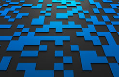 Abstract 3D Rendering of Futuristic Surface with. Abstract 3d rendering of black and blue futuristic surface with squares. Sci-fi background Stock Photography