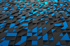 Abstract 3d rendering of futuristic surface with. Abstract 3d rendering of black and blue futuristic surface with triangles. Sci-fi background Stock Image