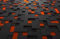 Abstract 3D Rendering of Futuristic Surface with. Abstract 3d rendering of black and orange futuristic surface with squares. Sci-fi background stock illustration