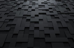 Abstract 3d rendering of futuristic surface with. Abstract 3d rendering of black futuristic surface with squares. Sci-fi background vector illustration