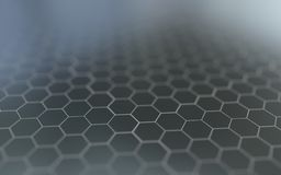 Abstract 3d surface with hexagons. Abstract 3d rendering of futuristic surface with hexagons Royalty Free Stock Images