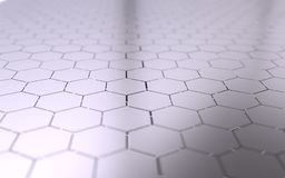 Abstract 3d surface with hexagons. Abstract 3d rendering of futuristic surface with hexagons Stock Photography