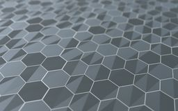 Abstract 3d surface with hexagons. Abstract 3d rendering of futuristic surface with hexagons royalty free illustration
