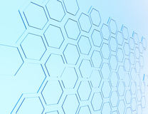 Abstract 3d rendering of futuristic surface with hexagons. Blue Stock Photos