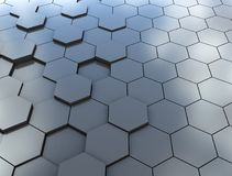 Abstract 3d rendering of futuristic surface with hexagons. Blue. Sci-fi background Stock Photography