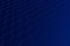 Abstract 3d rendering of futuristic surface with. Hexagons. Blue sci-fi background Stock Photos