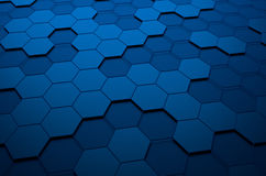 Abstract 3d rendering of futuristic surface with. Hexagons. Blue sci-fi background Royalty Free Stock Photography