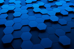 Abstract 3d rendering of futuristic surface with. Hexagons. Blue sci-fi background Stock Image