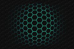 Abstract 3d rendering of futuristic surface with hexagons. dark green sci-fi background. stock photos