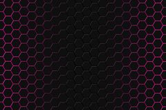 Abstract 3d rendering of futuristic surface with hexagons. Dark red sci-fi background. royalty free stock images