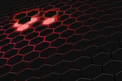 Abstract 3d rendering of futuristic surface with hexagons. Dark red sci-fi background. royalty free stock photo