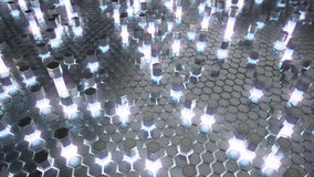 Abstract 3d rendering of futuristic surface with hexagons. Reactor radioactive elements. Sci-fi background. Top view. Stock Photography