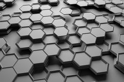 Abstract 3d rendering of futuristic surface with. Hexagons. Sci-fi background Vector Illustration