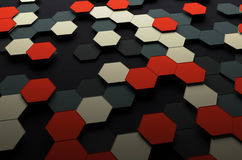 Abstract 3d rendering of futuristic surface with. Hexagons. Sci-fi background Stock Photos