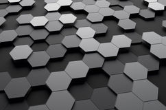 Abstract 3d rendering of futuristic surface with. Hexagons. Sci-fi background stock illustration