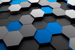 Abstract 3d rendering of futuristic surface with. Hexagons. Sci-fi background Royalty Free Stock Photos