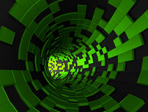 Abstract 3D Rendering of Futuristic Tunnel. Background with sci-fi pipe and chaotic cubes Royalty Free Stock Photography