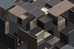 Abstract 3D Rendering of Geometric Shapes. Composition with squares. Cube design. Modern background for poster, cover, branding, banner, placard Royalty Free Stock Photos