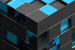 Abstract 3D Rendering of Geometric Shapes. Composition with squares. Cube design. Modern background for poster, cover, branding, banner, placard royalty free illustration