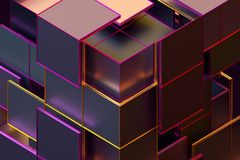 Abstract 3D Rendering of Geometric Shapes. Composition with squares. Cube design. Modern background for poster, cover, branding, banner, placard stock illustration