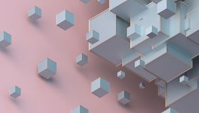 Abstract 3D Rendering of Cubes. Abstract 3d rendering of geometric shapes. Composition with cubes. Modern background design for poster, cover, branding, banner Royalty Free Stock Photos