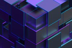 Abstract 3D Rendering of Geometric Shapes. Composition with squares. Cube design. Modern background for poster, cover, branding, banner, placard vector illustration