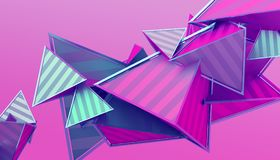 Abstract 3D Rendering of Geometric Shapes. Modern background design for poster, cover, branding, banner, placard stock illustration