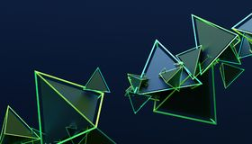 Abstract 3D Rendering of Geometric Shapes. Modern background design for poster, cover, branding, banner, placard royalty free illustration