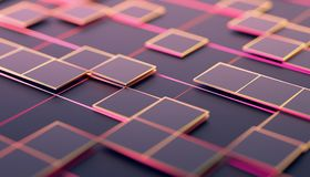 Abstract 3D Rendering of Geometric Surface. Abstract 3d rendering of geometric shapes. Composition with squares. Futuristic surface design. Modern background for Royalty Free Stock Photography