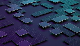 Abstract 3D Rendering of Geometric Surface. Abstract 3d rendering of geometric shapes. Composition with squares. Futuristic surface design. Modern background for Stock Photo