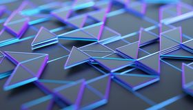 Abstract 3D Rendering of Geometric Surface. Composition with triangles. Futuristic modern background design for poster, cover, branding, banner, placard Royalty Free Stock Photography