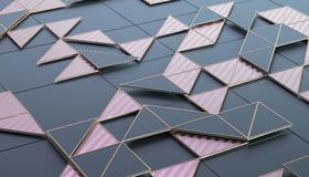 Abstract 3D Rendering of Geometric Surface. Composition with triangles. Futuristic modern background design for poster, cover, branding, banner, placard Stock Photography
