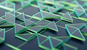 Abstract 3D Rendering of Geometric Surface. Composition with triangles. Futuristic modern background design for poster, cover, branding, banner, placard Royalty Free Stock Photos