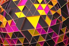 Abstract 3D Rendering of Geometric Surface. Composition with triangles. Futuristic modern background design for poster, cover, branding, banner, placard royalty free illustration