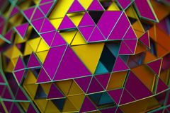 Abstract 3D Rendering of Geometric Surface. Composition with triangles. Futuristic modern background design for poster, cover, branding, banner, placard stock illustration