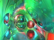 Abstract 3D rendering of a glass technology. With balls and spheres in mainly green colors Stock Image