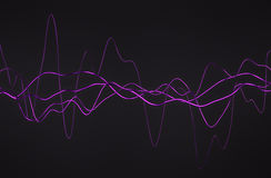 Abstract 3D Rendering of Glossy Wavy Lines. Royalty Free Stock Image