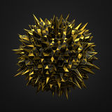 Abstract 3D Rendering of Gold Chaotic Surface Stock Photography