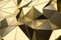 Abstract 3D Rendering of Gold Low Poly Surface. Abstract 3d rendering of gold surface. Futuristic background with lines and low poly shape stock illustration